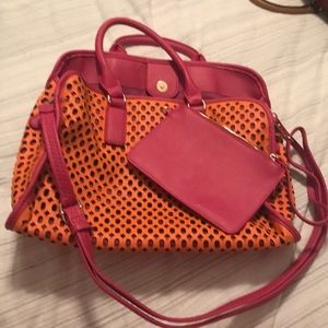Orange and Pink Shiraleah Tote w/detachable wallet
